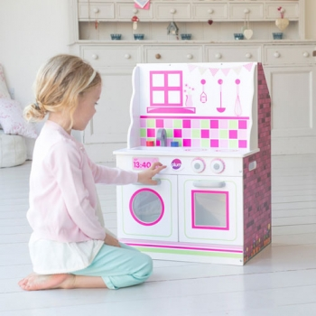 2-in-1 Wooden Kitchen and Dollhouse 74 cm