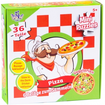 Mini Puzzles Pizza with glow in the dark stickers