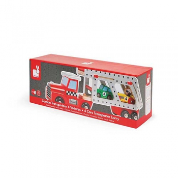 Story Car Transporter Lorry with 4 Racing Cars