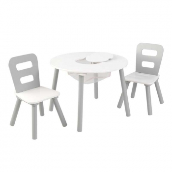 KidKraft Round Table and 2 Chair Set, White/Gray
