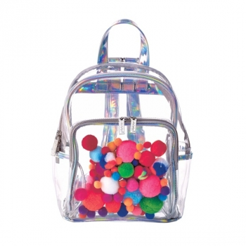 Pom Poms Clear See-Through Mini Backpack