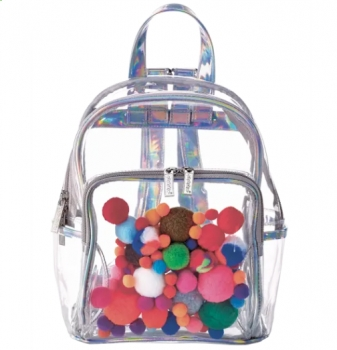 Pom Poms Clear See-Through Large Backpack