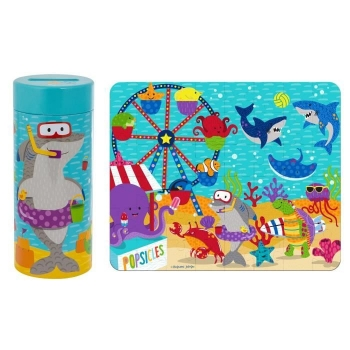 Tin Bank with Puzzle Shark