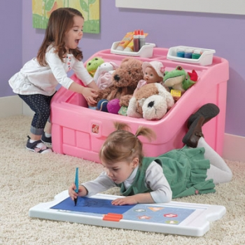 2 In 1 Toy Box with Art Lid Pink