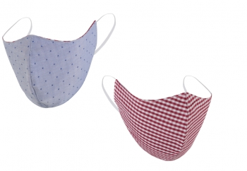 Washable & Reversible Face Mask - Checkered Pink / Light Blue