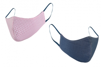 Washable & Reversible Face Mask - Pink Checkered / Denim Blue