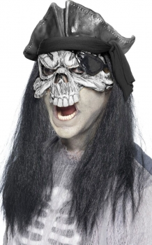 Smiffy's Haunted Ghost Swashbuckler Mask With Hair