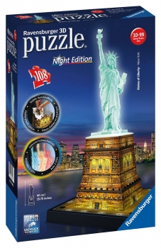 Statue of Liberty - Night Edition - 108 Piece 3D Jigsaw Puzzle