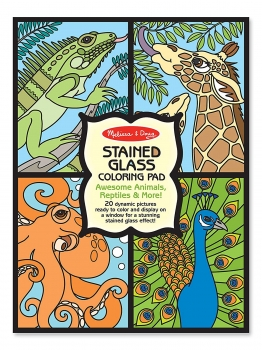 Stained Glass Coloring Pad, Awesome Animals