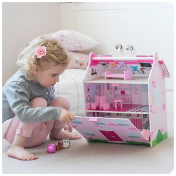 Hove Wooden Dolls House, Pink Palace + Accessories